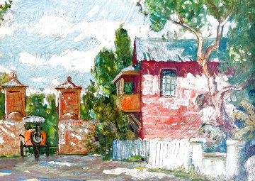 City Gates, With Horse Drawn Carriage 12x15 Original Painting - Emmett Fritz