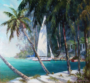 Sail Cove 16x20 Original Painting - Art Fronckowiak