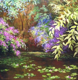 Wisteria Pond 2002 30x24 Original Painting - Art Fronckowiak