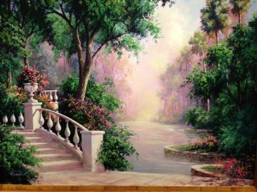 Terrace View 2000 Embellished Limited Edition Print - Art Fronckowiak