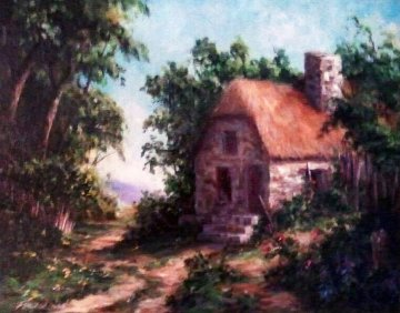Old English Cottage 2007 22x26 Original Painting by Art Fronckowiak