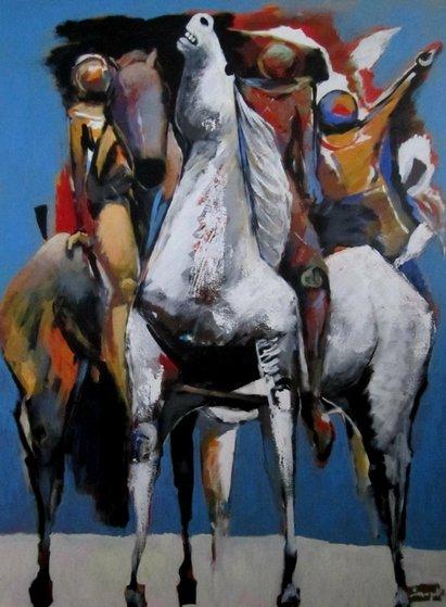Equistre #23 51x39 Original Painting - Luigi Fumagalli
