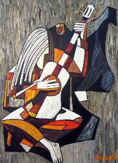Untitled Musician 1973  49x36 Huge Original Painting - Luigi Fumagalli