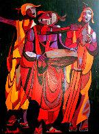 Untitled Painting 1971 38x48 Super Huge Original Painting by Luigi Fumagalli - 0