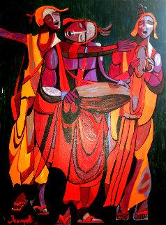 Untitled Painting 1971 38x48 Huge Original Painting - Luigi Fumagalli
