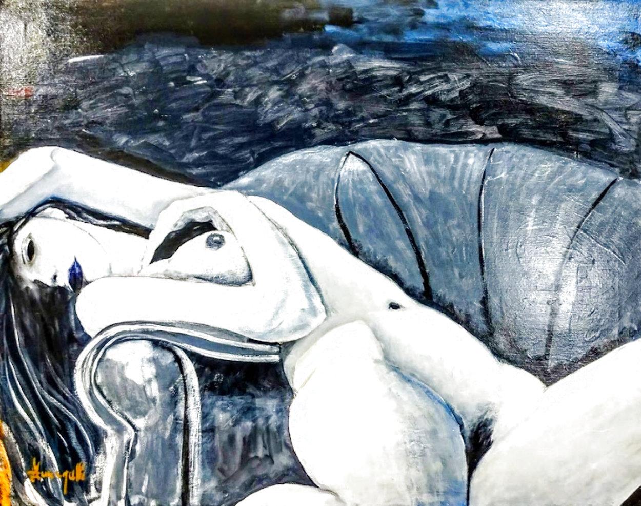 Reclining Nude 24x30 Original Painting by Luigi Fumagalli