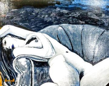 Reclining Nude 24x30 Original Painting - Luigi Fumagalli