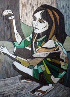 Untitled Painting 1970 45x33 Huge Original Painting - Luigi Fumagalli