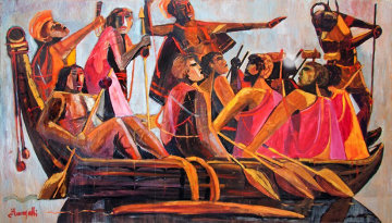 King Kamehameha And His Warriors Going to Battle 1976 48x84 Original Painting - Luigi Fumagalli