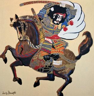 Samurai on Horse 1980 39x39 Huge Original Painting - Luigi Fumagalli