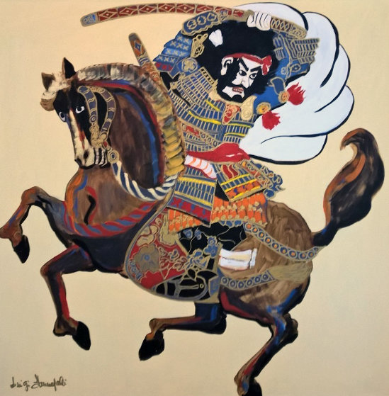 Samurai on Horse 1980 39x39 Original Painting by Luigi Fumagalli