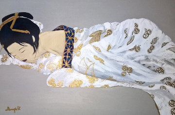 Untitled, His Wife 1980 41x30 Super Huge Original Painting - Luigi Fumagalli