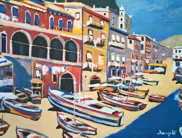 Untitled Italy 1980 36x46 Original Painting - Luigi Fumagalli