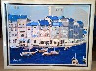 Untitled Itallian Port 1980 36x46 Super Huge Original Painting by Luigi Fumagalli - 1