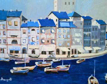 Untitled Itallian Port 1980 36x46 Super Huge Original Painting - Luigi Fumagalli
