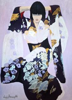Noriko 1980 43x33 Original Painting - Luigi Fumagalli