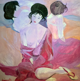 Untitled Japanese Women 1980 42x42 Original Painting - Luigi Fumagalli