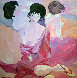 Untitled Japanese Women 1980 42x42 Original Painting by Luigi Fumagalli - 0