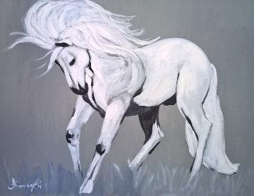 White Stallion 1980 39x38 Super Huge Original Painting - Luigi Fumagalli