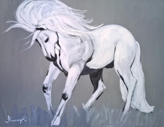 White Stallion 1980 39x38 Original Painting by Luigi Fumagalli