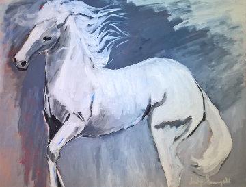 White Stallion 1980 37x47 Original Painting by Luigi Fumagalli