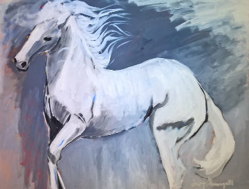 White Stallion 1980 37x47 Original Painting - Luigi Fumagalli