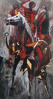 Thai Ballet 1958 35x62 (Early) Original Painting - Luigi Fumagalli
