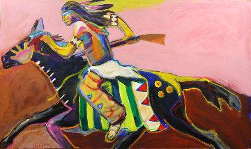 Black Horse 36x60 Srper Huge Original Painting - Malcolm Furlow
