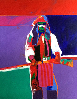 Chaco Apache 1989 56x48 Huge Original Painting - Malcolm Furlow