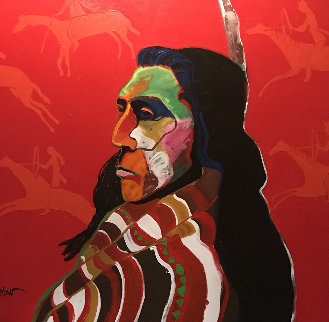 Tribal Indian 42x42 Original Painting - Malcolm Furlow