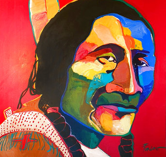 Stands Like the Wolf 1993 40x40 Huge Original Painting - Malcolm Furlow