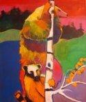 Firewatch Bears Up a Tree 72x60 Original Painting - Malcolm Furlow