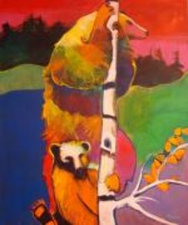 Firewatch Bears Up a Tree 72x60 Original Painting - Malcolm Furlow