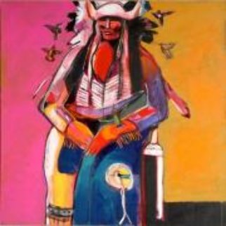 Shaman of the Lakota Sioux 2009 40x40 Original Painting - Malcolm Furlow