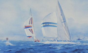 Australia II - Defeating Liberty USA in the Final Race For the  Americas Cup 1983 Limited Edition Print - John Gable