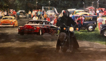 Hot Rods Watercolor 1986 70x66 Watercolor - John Gable