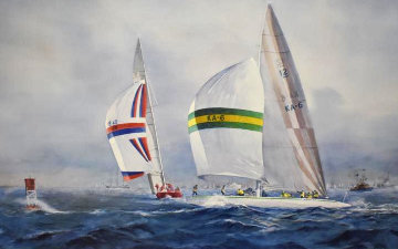 Australia II - Defeating Liberty USA in the Final Race For the Americas Cup AP 1983 Limited Edition Print - John Gable