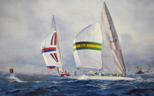 Australia II - Defeating Liberty USA in the Final Race For the Americas Cup AP 1983 Limited Edition Print by John Gable