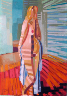 Nude Blonde 1957 21x15 Original Painting by Ralph Gagnon