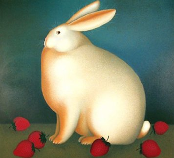Rabbit With Strawberries 1989 Limited Edition Print by Igor Galanin