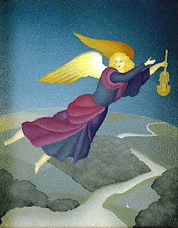 Angel With Violin 2000 14x11  Original Painting by Igor Galanin