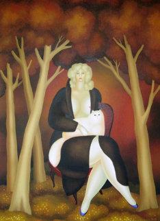 In the Meadow in the Wood 1979 48x36 Huge Original Painting - Igor Galanin