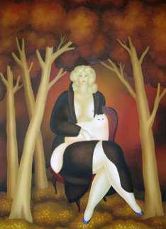 In the Meadow in the Wood 1979 48x36 Super Huge Original Painting - Igor Galanin