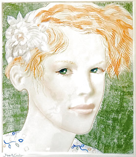 Short Red-Haired Female Bust Tile 17 inches Sculpture - Frank Gallo