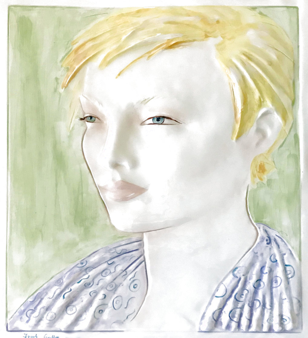 Short-Haired Blonde Female Bust Tile 19 inches Sculpture by Frank Gallo