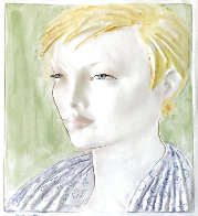 Short-Haired Blonde Female Bust Tile 19 inches Sculpture by Frank Gallo - 0
