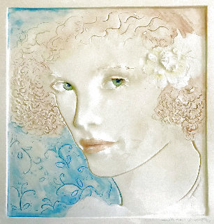 Curly-Haired Blonde Female Bust Tile 17 inches Sculpture - Frank Gallo