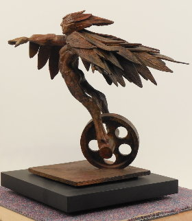 Winged Runner Unique Bronze Sculpture 9 in Sculpture - Theodore Gall