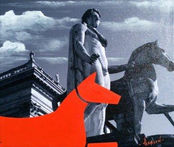 Red Horse - Italian Series 2014 16x19 Original Painting - Stephen Gamson