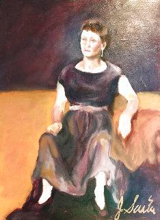 Woman in Purple Dress 1960 24x17 Original Painting - Jerry Garcia